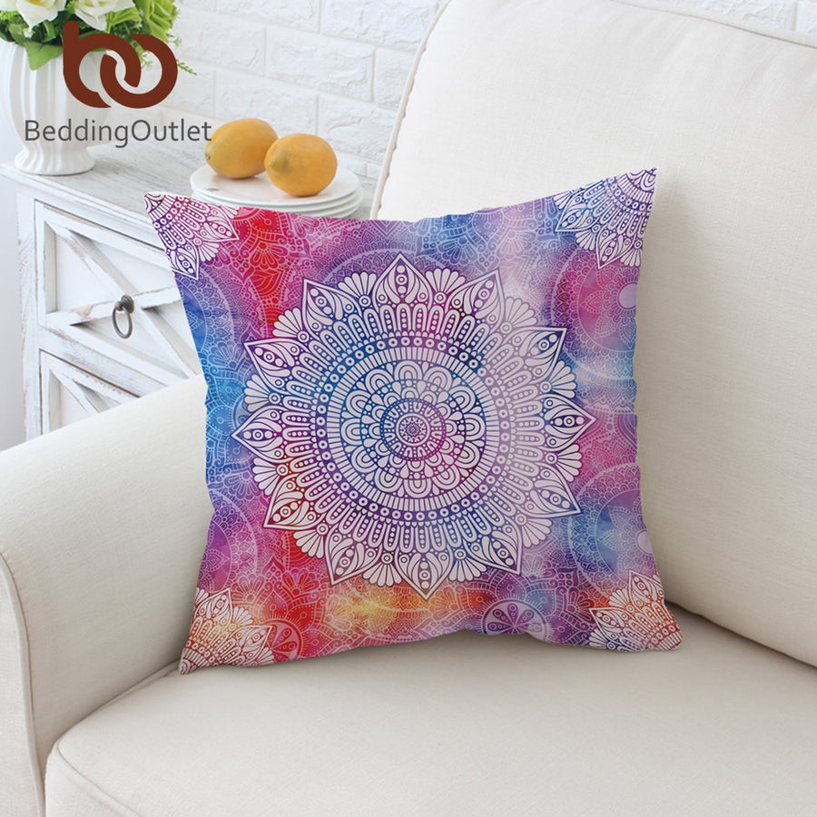 BeddingOutlet Mandala Flower Cushion Cover Bohemian Pillowcase Colorful Girly Throw Cover Floral Blue Decorative Pillow Cover - Dropshipful.com