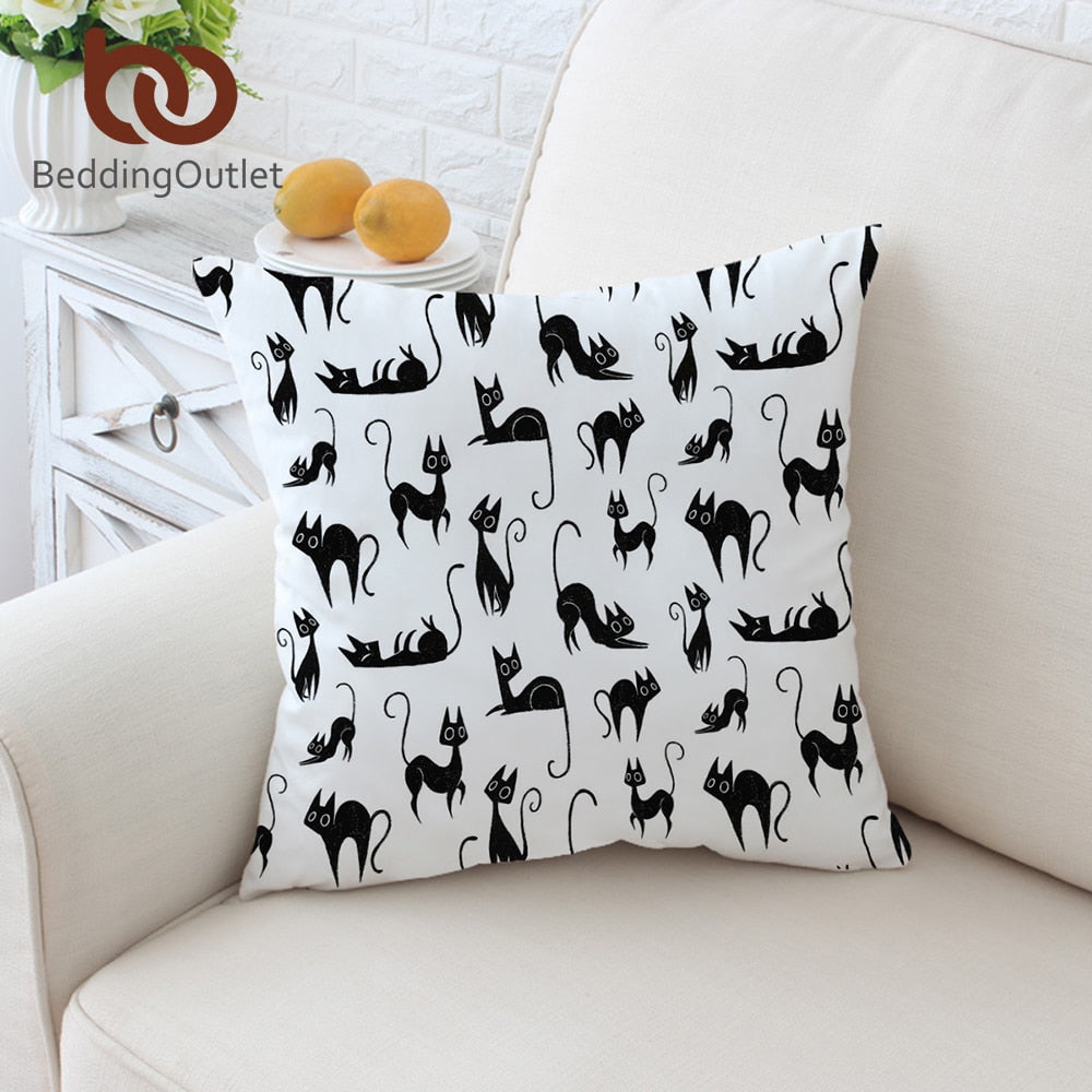 BeddingOutlet Cartoon Cushion Cover Animal Pillowcase Cute Cats Printed Throw Cover Black and White Decorative Pillow Cover - Dropshipful.com