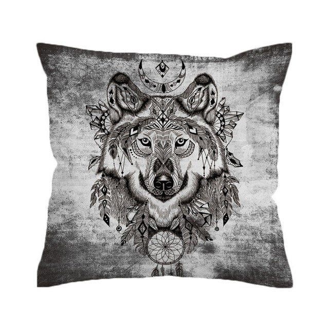 BeddingOutlet Tribal Wolf Cushion Cover Dreamcatcher Pillowcase for Sofa Mandala Throw Cover Geometric Decorative Pillow Cover - Dropshipful.com