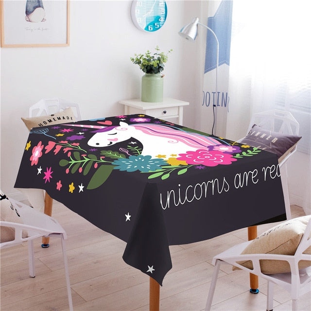 BeddingOutlet Rainbow Unicorn Tablecloth Cartoon Print Stars Waterproof Table Cloth Floral Girly Decorative Table Cover 140x200