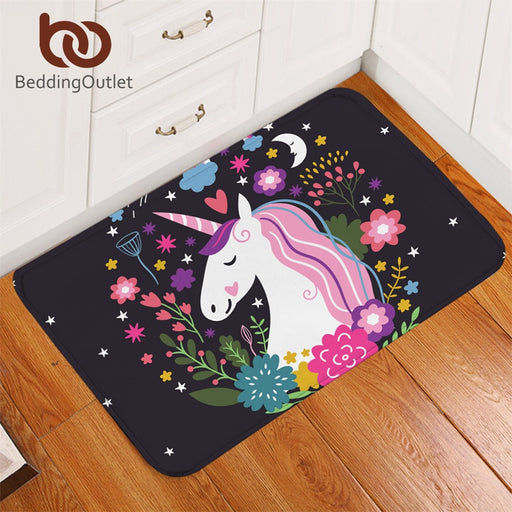 BeddingOutlet Unicorn Entrance Doormat Non-slip Bathroom Carpet Floral Rug Cartoon Print for Kids Room Floor Mat 50cmx80cm
