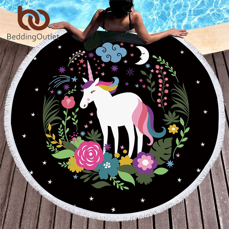 BeddingOutlet Unicorn Cartoon Round Beach Towel Stars Moon Tassel Tapestry Flowers Toalla Sunblock Cover-Up Blanket 150cm Mat