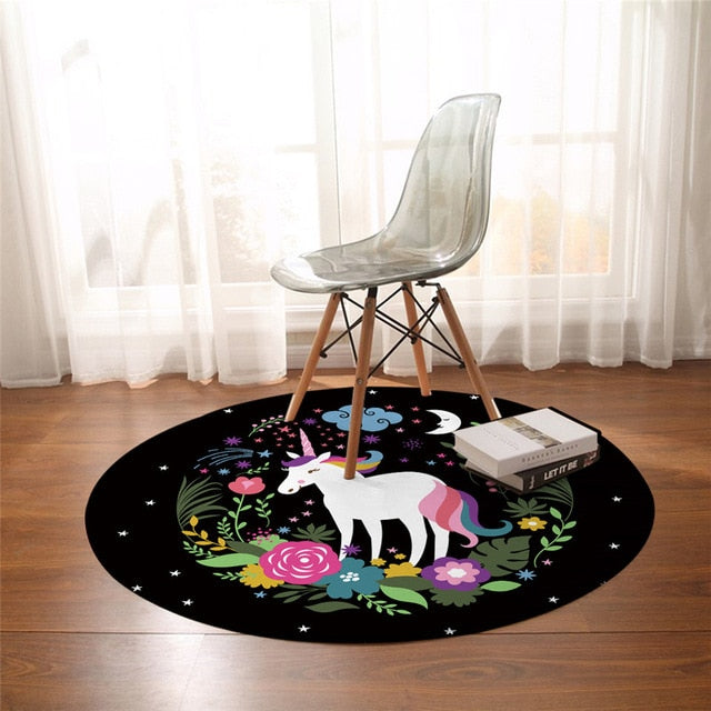 BeddingOutlet Rainbow Unicorn Bedroom Carpets Cartoon Round Area Rug for Living Room Floral Girly Floor Rug Play Mat 150cm
