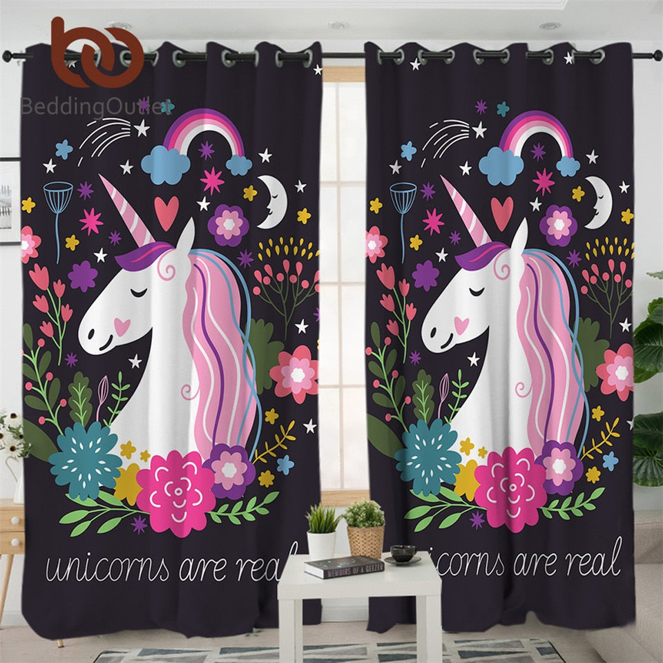 Beddingoutlet Unicorn Living Room Curtains Cartoon Print Curtain For