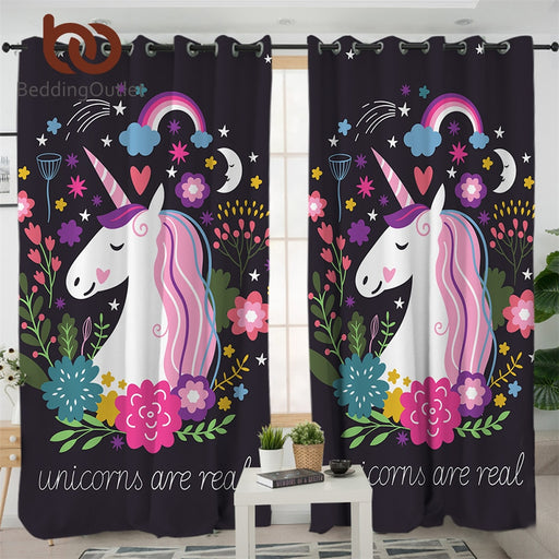 BeddingOutlet Unicorn Living Room Curtains Cartoon Print Curtain for Kids Bedroom Girls Floral Window Treatment Drapes 1/2pcs