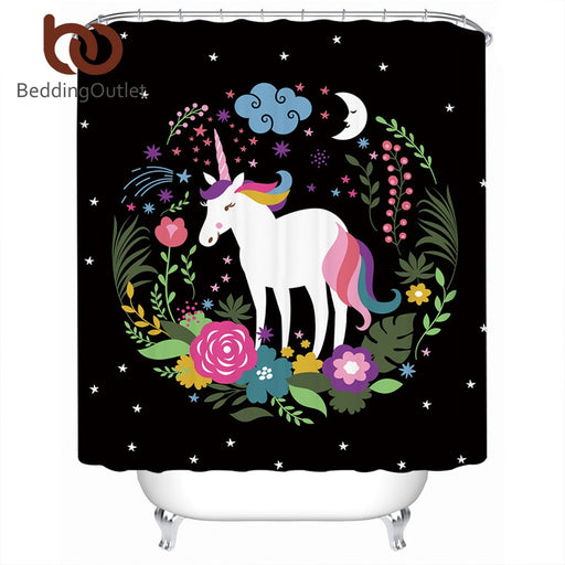 BeddingOutlet Unicorn Shower Curtain Waterproof Cartoon Print for Kids Bathroom Curtain With Hooks Floral Girls Curtain 180x180