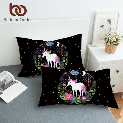 BeddingOutlet Unicorn Cartoon Body Pillowcase Flowers Decorative Pillow Case for Kids Rainbow Tail Pillow Cover Bedding 2-Piece
