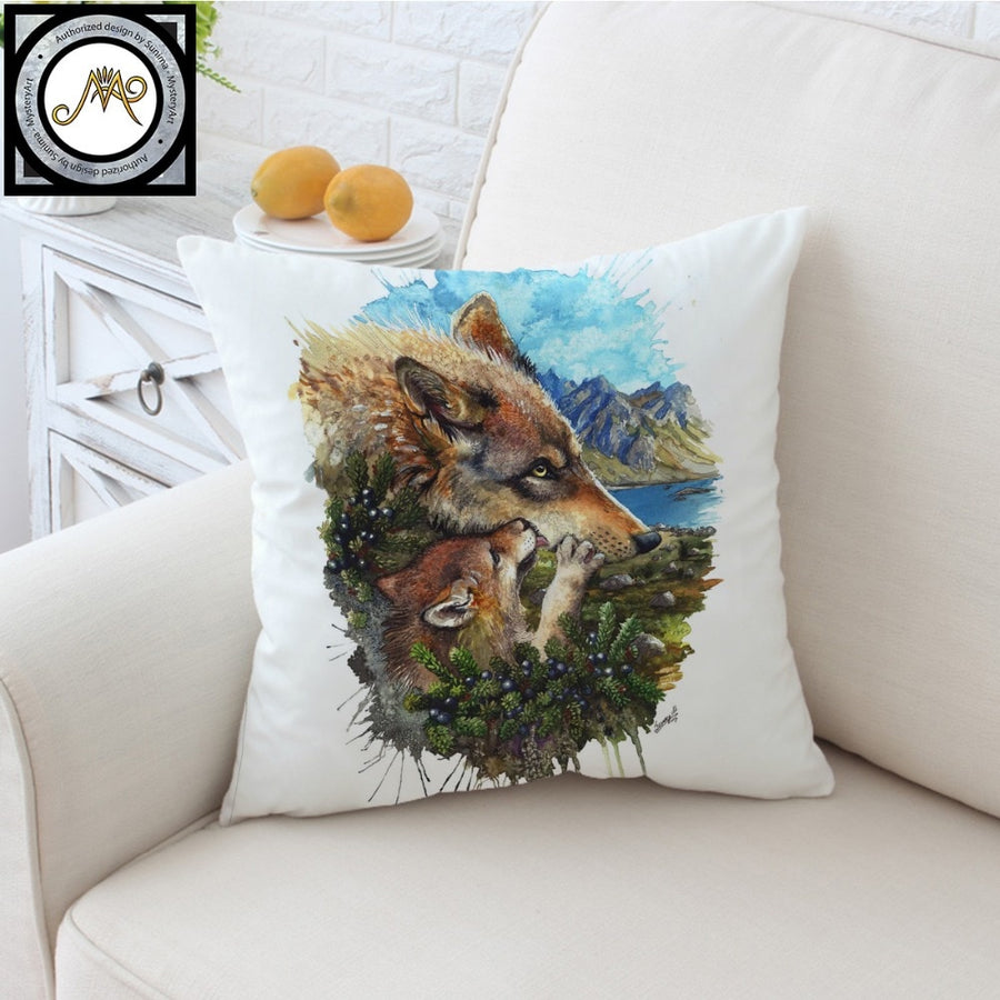 Wolf Cub Mother by SunimaArt Cushion Cover Wolves Family Pillow Case Watercolor Throw Cover Decorative Pillow Cover for Sofa