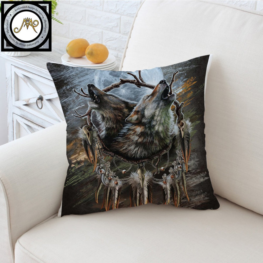 A Song for the Moons Reflection by SunimaArt Cushion Cover Howling Wolves Pillow Case Dreamcatcher Throw Cover Pillow Cover