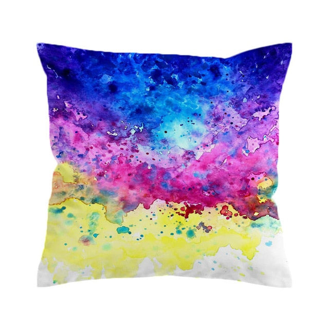 Colorful Vibez by Brizbazaar Cushion Cover Splashing Watercolor Pillow Case Colorful Paintings Throw Cover Art Pillow Cover