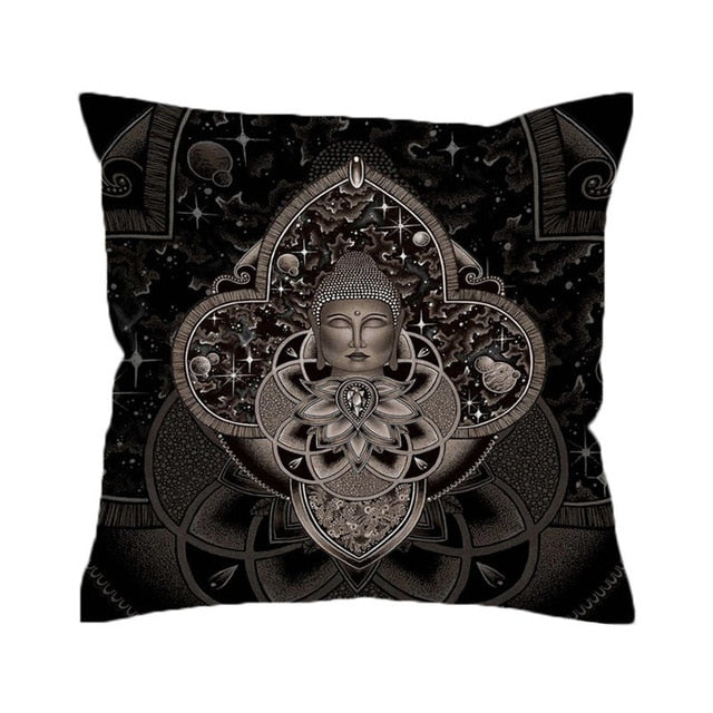 Cosmic Nirvana by Brizbazaar Cushion Cover Buddha Pillow Case Universe Star Planet Throw Cover Elephant Ganesha Pillow Cover
