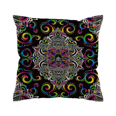 Harmony Magic by Brizbazaar Cushion Cover Mandala Flower Pillow Case Colorful Throw Cover Purple Blue Decorative Pillow Cover