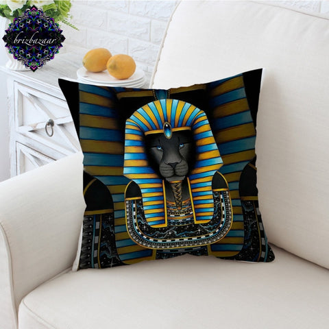 KING by Brizbazaar Cushion Cover Ancient Egpyt Pharaoh Sphinx Pillow Case Lion Mysterious Throw Cover Striped Pillow Cover 45x45