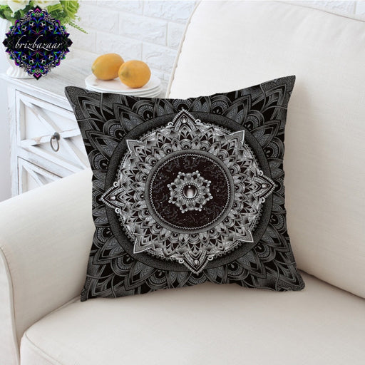 Mandala by Brizbazaar Cushion Cover Black White Flower Pillow Case Mysterious Universe Throw Cover Gemstone Pillow Cover 45x45