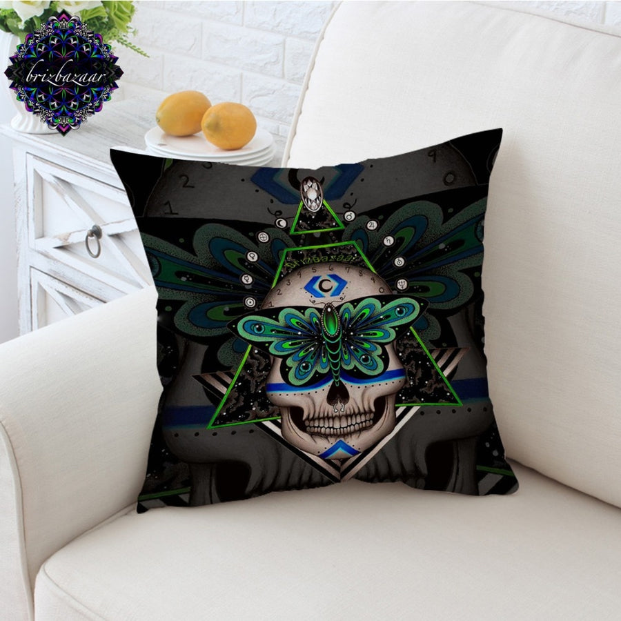 Prophecies by Brizbazaar Cushion Cover Gothic Skull Pillow Case Green Butterfly Sofa Throw Cover Geometric Pillow Cover 45x45cm