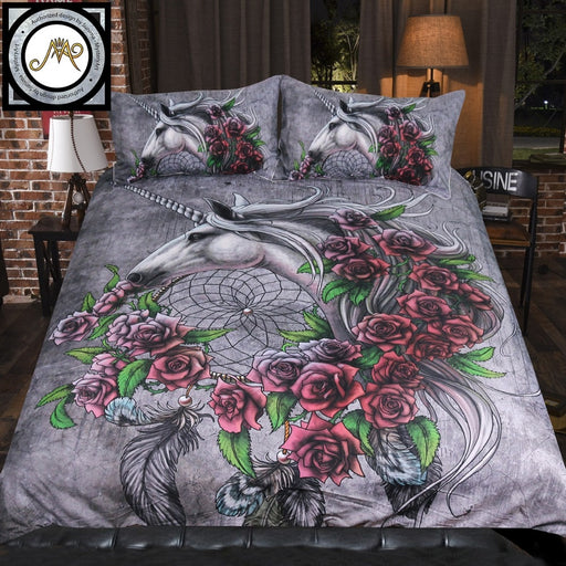 Unicorn Dreamcatcher Bedsheet Color by Sunima-MysteryArt Bedding Set Roses Gray Duvet Cover Floral Bed Set 3pcs Home Textiles