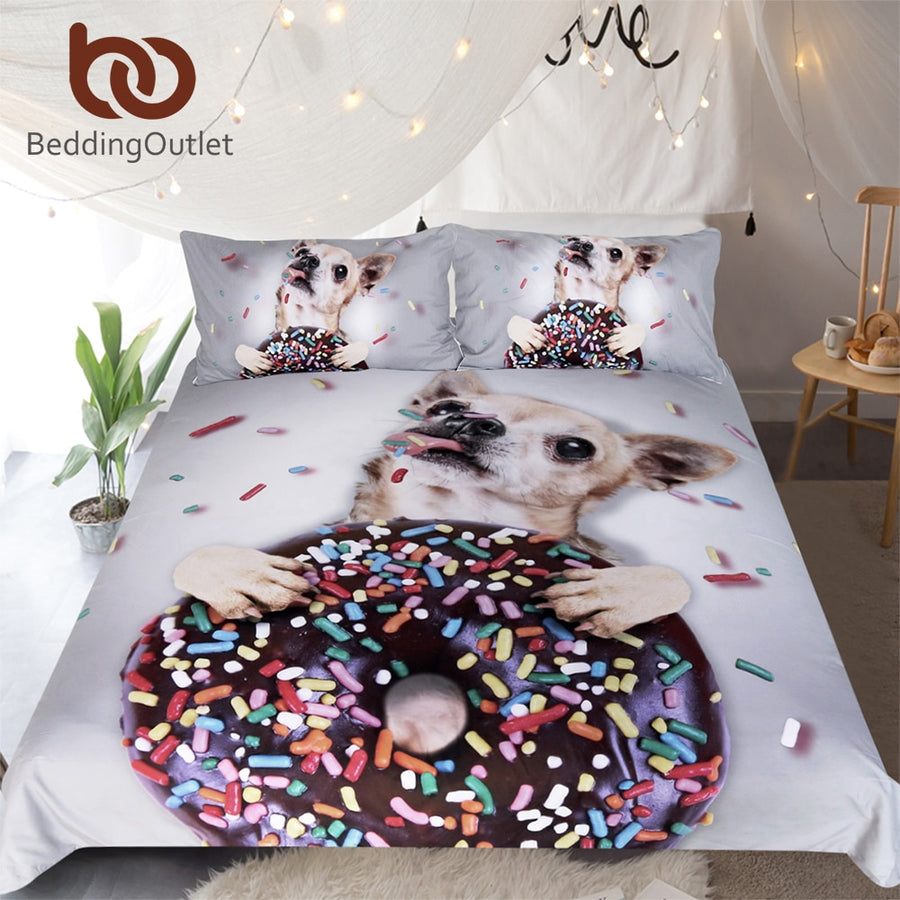 BeddingOutlet 3D Printed Dog Bedding Set Sweet Donut Duvet Cover Set for Kids Adult Home Textiles 3pcs Colorful Candy Bedclothes