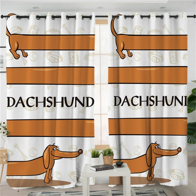 BeddingOutlet Dachshund Living Room Curtain Cartoon Pet Dog Curtain for kids Bedroom Brown Striped Window Treatment Drapes