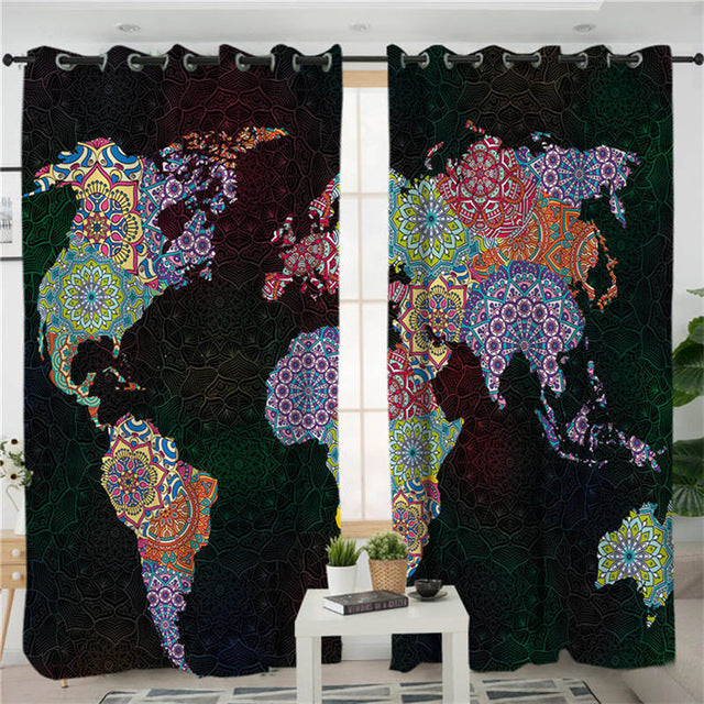 BeddingOutlet World Map Living Room Curtain Mandala Flower Curtain for Bedroom Good Vibe Colorful Boho Window Treatment Drapes