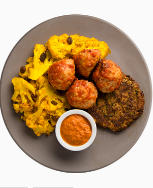 Turkey Meatballs and Red Pepper Walnut Dip with Zucchini Flatbread