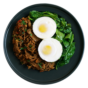 Pastrami Spiced Steak and Eggs with Spinach