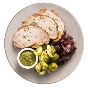 Pesto Pork Loin with Beets and Brussels Sprouts