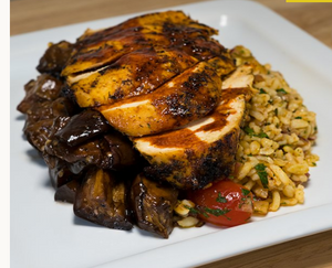 Greek Chicken and Balsamic Roasted Eggplant