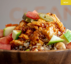 Chipotle Peach Chicken Quinoa Bowl