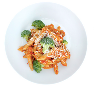 Turkey Pasta with Red Bell Pepper Sauce