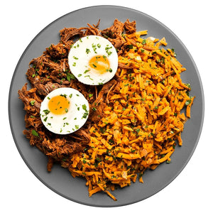 Athlete Pastrami Spiced Steak and Eggs with Sweet Potato Hash