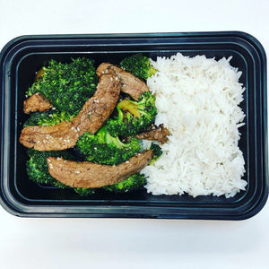 Beef, Broccoli and Steamed Rice