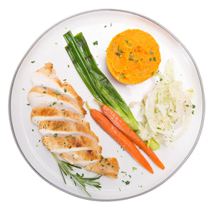 Fennel and Garlic Chicken with Rosemary Roasted Sweet Potato