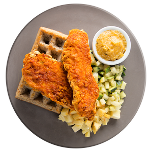 Crispy Chicken and Waffles with Apricot-Almond Sauce