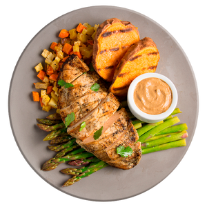 Athlete Grilled Chicken and Sweet Potatoes with Sunflower Butter Sauce