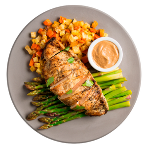 Grilled Chicken and Sunflower Butter Sauce with Roasted Root Vegetables