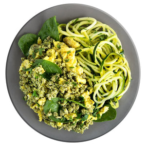 Pesto Eggs with Turkey and Zucchini (Keto Friendly)