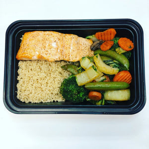 Baked Asian Salmon Stir Fry with Quinoa