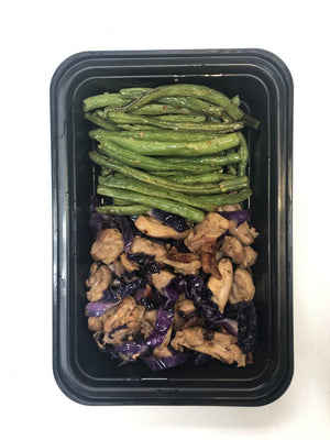 Chicken Stir-Fry with Purple Cabbage, Bacon with Garlicky Green Beans