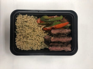 Flank Steak, Fajita Peppers, Parsley-Onion Couscous
