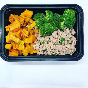 Ground Turkey with Steamed Broccoli and Sweet Potatoes