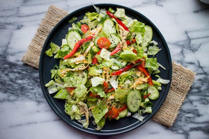 Asian Tofu Salad with Carrot Ginger Dressing