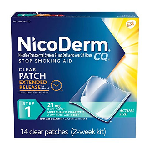 NicoDerm CQ Stop Smoking Aid 21 milligram Clear Nicotine Patches Step 1