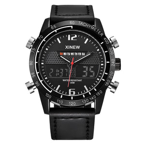Mens Military Waterproof Sports LED Digital Analog Leather Wrist Watch