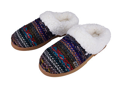 Multi-Color Giving Sole Slippers with Sherpa