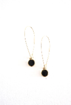 Angie Earrings Gold & Black Horn