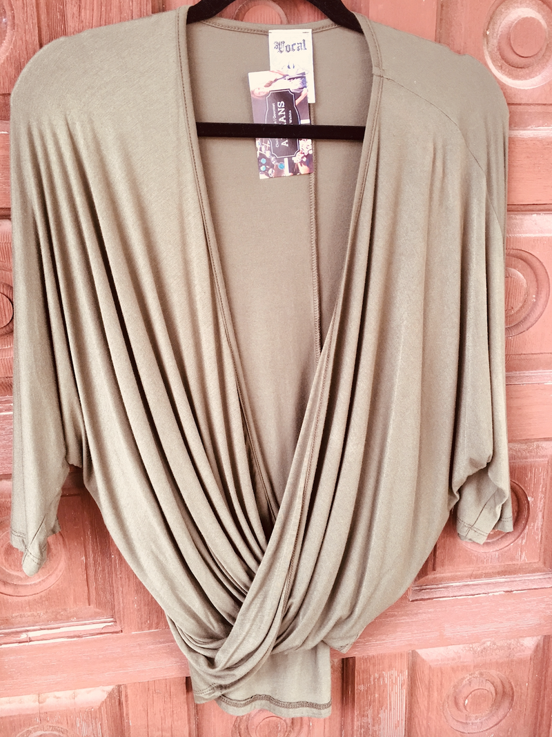 VOCAL Criss Cross Drape Front Top - Olive