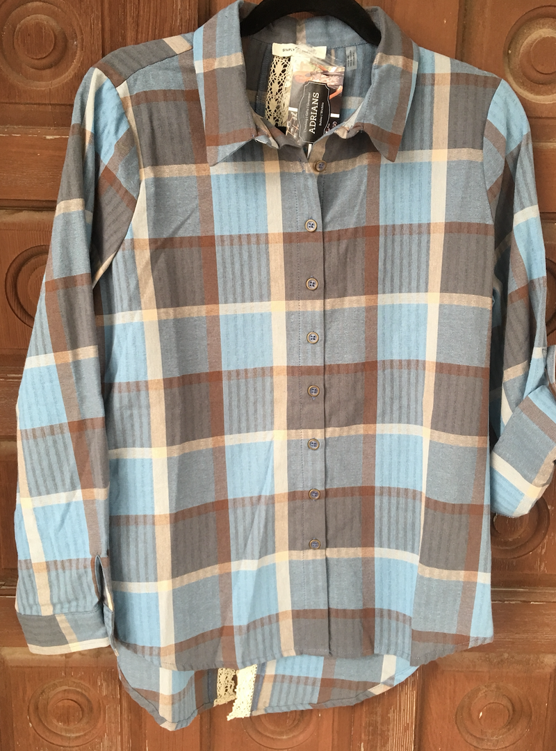 Noelle Plaid Shirt with Lace Detail - Blue