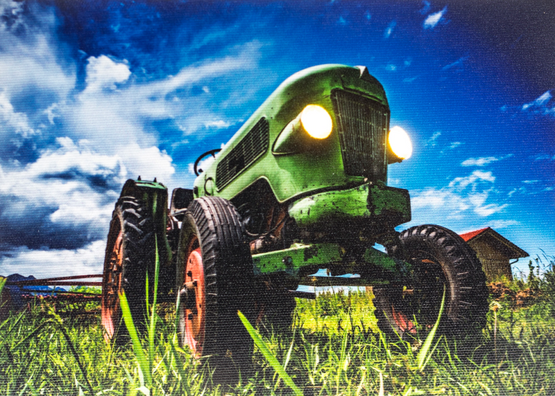 LED Light Up Canvas - Green Tractor Summer