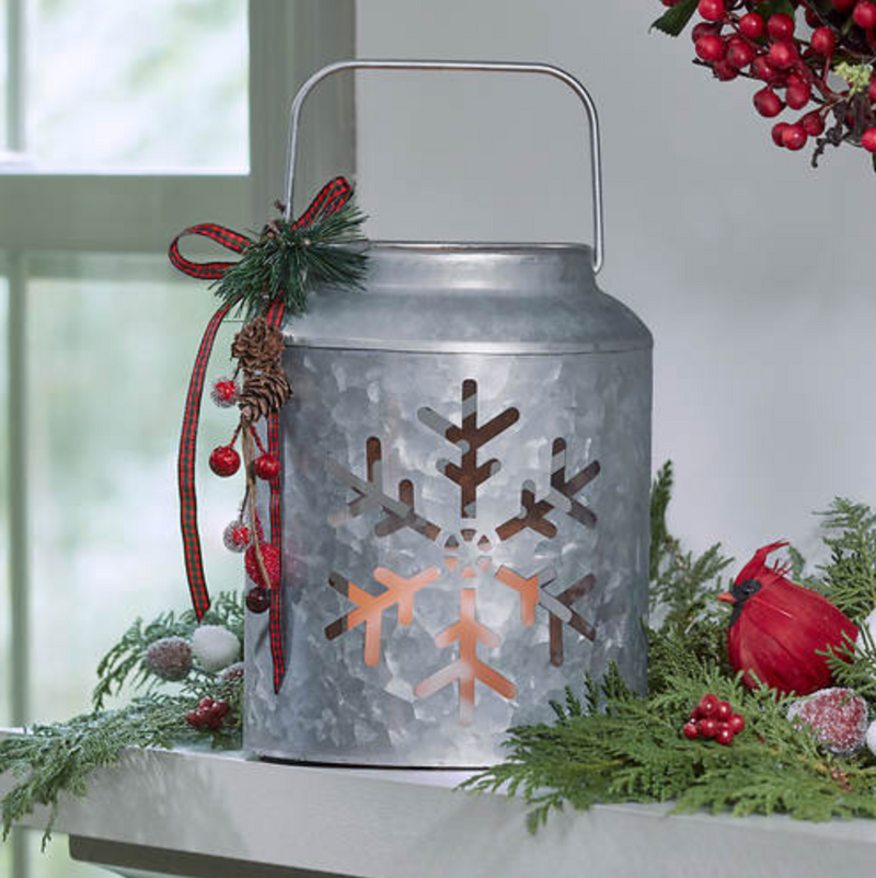 Snowflake Lantern with LED Pillar
