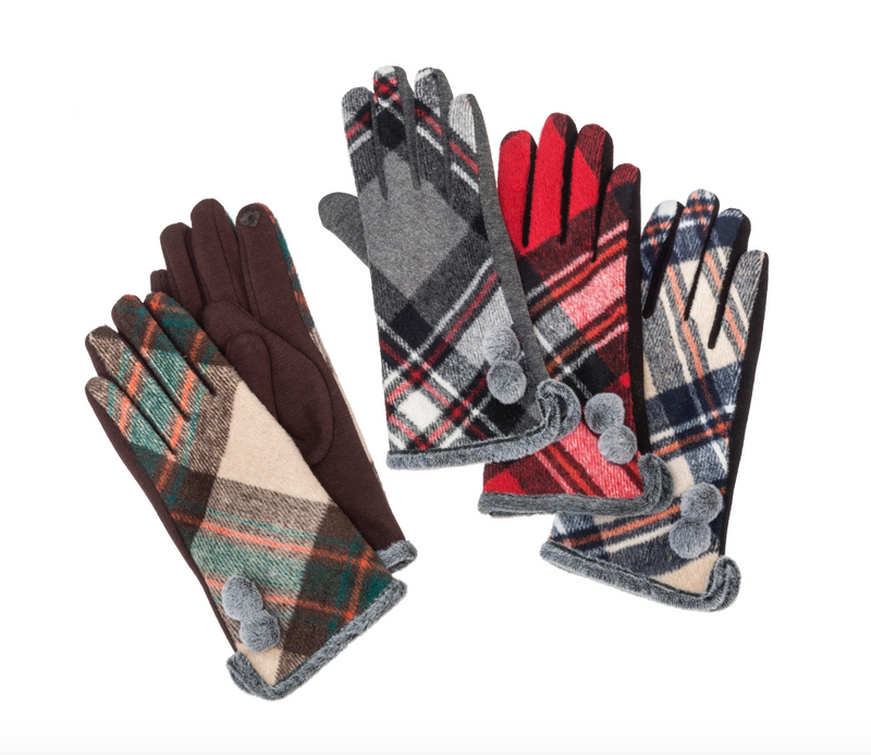 Plaid Texting Gloves